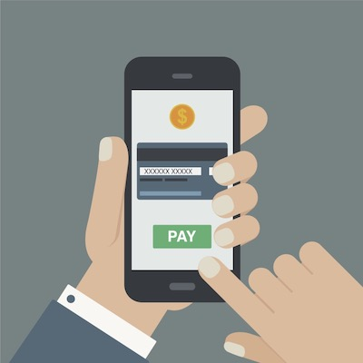 Patient making payment using smartphone