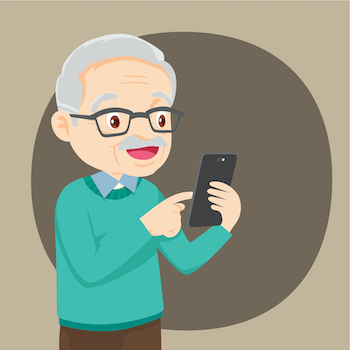 Senior using mobile telemedicine